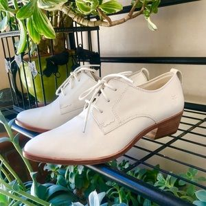 White Frye Pointed-Toe Heeled Leather Oxfords 7.5